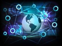 Globo americano de la tierra en vector de la red de la transferencia del mundo del negocio Fotografía de archivo libre de regalías