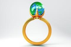 Globo in anello di oro Fotografie Stock