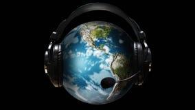Globo animado con los auriculares en él libre illustration