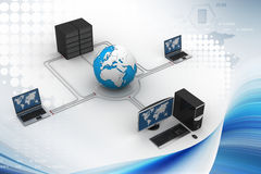 Globo ao redor com servidor e computador do portátil Foto de Stock Royalty Free