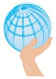 Globo apoiado com a mão Imagens de Stock Royalty Free