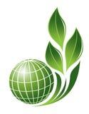 Globo astratto con il simbolo della pianta Fotografie Stock