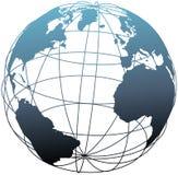 Globo atlantico della terra di latitudine globale del wireframe illustrazione vettoriale