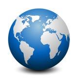 Globo azul com continentes - vetor ilustração stock