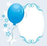 Globo azul con las estrellas y las burbujas. Capítulo Foto de archivo libre de regalías