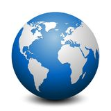 Globo azul con los continentes - vector stock de ilustración
