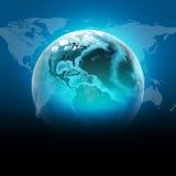 Globo azul da terra com os continentes, transparentes ilustração stock