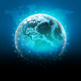 Globo azul da terra com os continentes, transparentes ilustração do vetor
