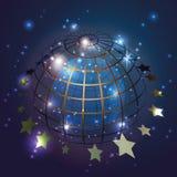 Globo azul del mundo con las estrellas en el fondo azul, vector Fotos de archivo libres de regalías