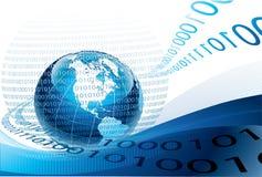 Globo azul e código binário Fotos de Stock Royalty Free