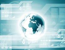 Globo azul en la tecnología digital Foto de archivo libre de regalías