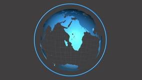 Globo azul que gira no fundo cinzento ilustração do vetor