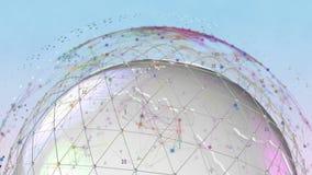 globo bianco della terra di animazione senza cuciture 3d che gira con la rete globale stock footage