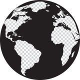 Globo in bianco e nero con i continenti della trasparenza Fotografia Stock Libera da Diritti