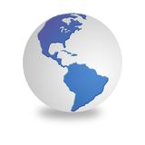 Globo blanco y azul del mundo Imagen de archivo libre de regalías