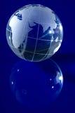 Globo blu con indicatore luminoso illuminato Fotografia Stock Libera da Diritti