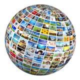 Globo, bola com várias imagens dos povos, natureza, objetos, lugares Imagem de Stock