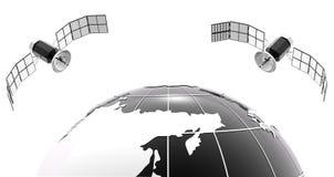 Globo clásico del bw con el satélite 2 Fotos de archivo