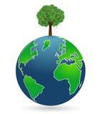 Globo com árvore ilustração do vetor