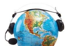 Globo com auriculares imagens de stock royalty free