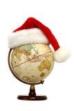 Globo com chapéu de Santa imagens de stock