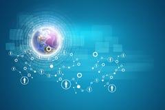 Globo com figuras e rede brilhantes da pessoa Imagem de Stock