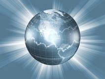 Globo com gráficos do mercado de valores de acção Fotografia de Stock Royalty Free