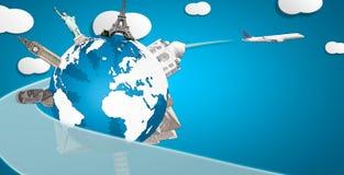 Globo com monumentos tirados e composição horizontal plana Fotografia de Stock Royalty Free