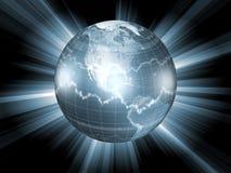 Globo com símbolos do mercado de valores de acção Imagens de Stock Royalty Free
