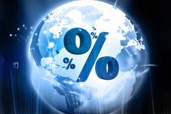 Globo com símbolos da porcentagem Imagem de Stock