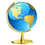 Globo com sustentação dourada Imagens de Stock Royalty Free
