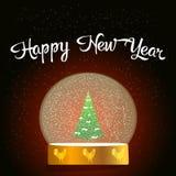 Globo con el árbol de navidad y el gallo en un soporte ilustración del vector