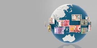 Globo con el billete de banco de las banderas y de las monedas de países ilustración del vector