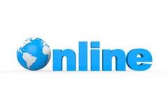Globo con el texto en línea Imágenes de archivo libres de regalías