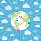 Globo con gli aeroplani Fotografie Stock