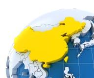 Globo con i continenti espelsi, primo piano sulla Cina Fotografia Stock