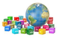 Globo con i Domain Name, della terra rappresentazione 3D Immagine Stock