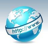Globo con internet address stock de ilustración