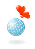 Globo con la cuore-farfalla Fotografie Stock Libere da Diritti