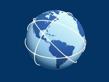 Globo con la rete su priorità bassa blu. Fotografie Stock Libere da Diritti