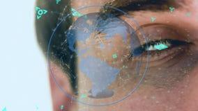 Globo con las líneas asimétricas y los símbolos futuristas y un hombre en el fondo ilustración del vector