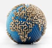 Globo con las paredes del laberinto como los continentes ilustración 3D ilustración del vector
