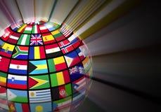 Globo con le bandierine del mondo Immagine Stock