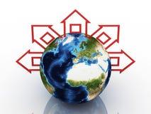 Globo con le case intorno su priorità bassa bianca Fotografia Stock Libera da Diritti