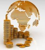 Globo con le monete Immagini Stock Libere da Diritti