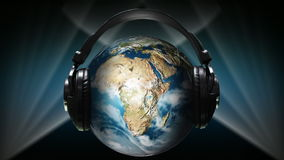 Globo con los auriculares en él ilustración del vector