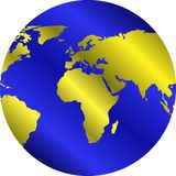 Globo con los continentes de oro Fotos de archivo libres de regalías