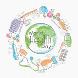 Globo con los elementos médicos para el día de salud de mundo stock de ilustración