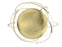 Globo con órbitas atadas con alambre del satélite Imagen de archivo libre de regalías