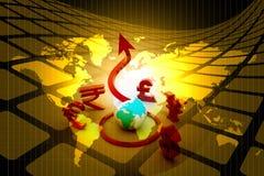 Globo con símbolos Imágenes de archivo libres de regalías